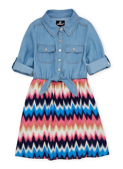 Girls 7-16 Dress in Denim and Printed Knit with Tie Front - 1615054730017
