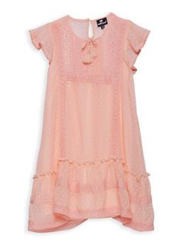 Girls 7-16 Swiss Dot Dress with Crochet Inserts - 1615054730026