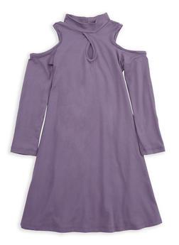 Girls 7-16 Purple Cold Shoulder Dress - 1615060580031