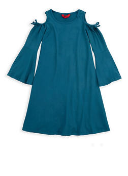 Girls 7-16 Teal Cold Shoulder Soft Knit Dress - 1615060580034