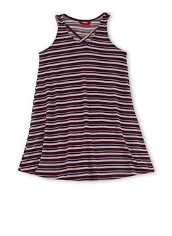 Girls 7-16 Sleeveless Striped Dress with Caged Neckline Detail - 1615060580264