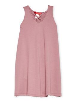 Girls 7-16 Sleeveless Rib Knit Shift Dress with Caged Neckline - 1615060580267