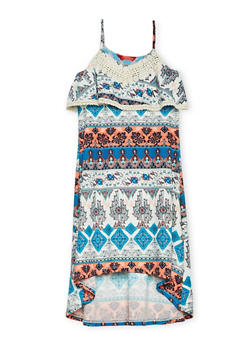 Girls 7-16 Printed Cami Dress with High Low Hem - 1615060580270