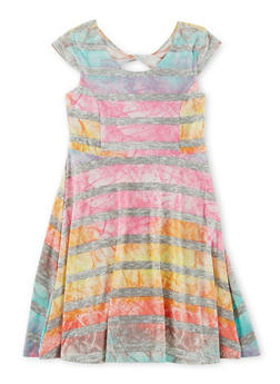 Girls 7-16 Striped Twist Back Cut Out Skater Dress - 1615060580271