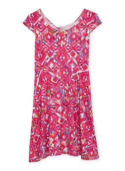 Girls 7-16 Printed Twist Back Cut Out Dress - 1615060580272