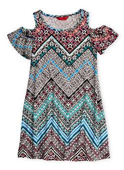 Girls 7-16 Cold Shoulder Printed Dress with Flutter Sleeves - 1615060580273