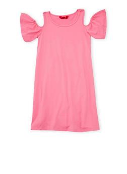 Girls 7-16 Solid Cold Shoulder Dress - 1615060580275