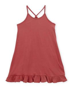 Girls 4-6X Tank Dress with Ruffled Hem - 1615060580276