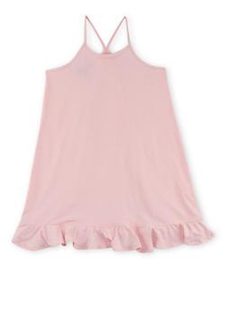 Girls 4-6x Sleeveless Shift Dress with Flounce Hem - 1615060580278