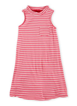 Girls 7-16 Sleeveless Mock Neck Striped Dress - 1615060580285