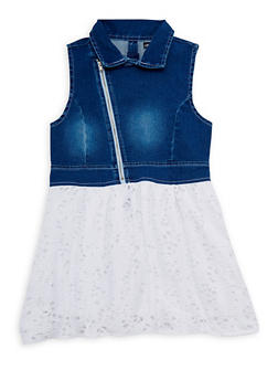 Girls 7-16 Asymmetrical Zip Denim Yoke Skater Dress - 1615060990001