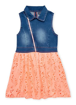 Girls 7-16 Limited Too Moto Denim Eyelet Dress - 1615060990002
