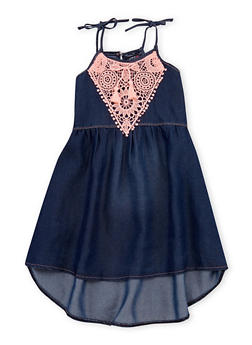 Girls 7-16 Limited Too Denim Dress with Crochet Yoke - 1615060990004