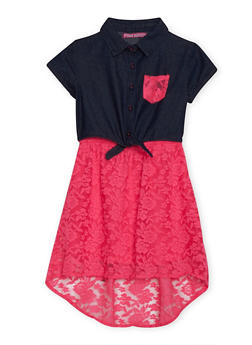 Girls 7-16 Neon Lace and Denim Dress - 1615060990009