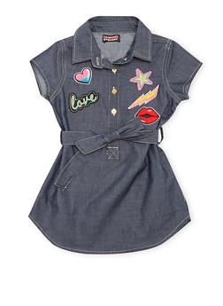 Girls 7-14 Short Sleeve Belted Chambray Dress with Patches - 1615061950001