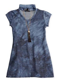 Girls 7-16 Keyhole Tie Dye Knit Dress with Necklace - 1615061957280