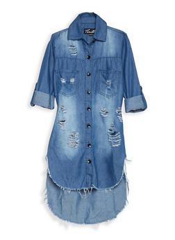 Girls 7-16 Distressed Denim High Low Shirt Dress - 1615063400003