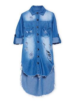 Girls 7-16 Distressed Denim High Low Shirt Dress - 1615063400004