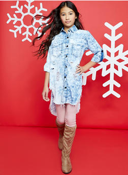 Girls 7-16 Distressed Acid Wash High Low Denim Shirt Dress - 1615063400005