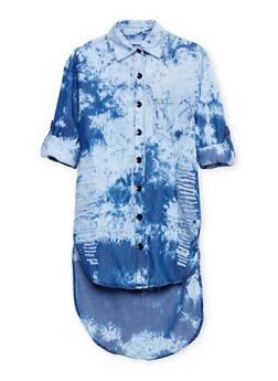 Girls 7-16 Slashed Button Front Denim Dress - 1615063400013