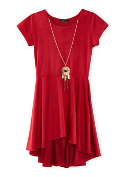 Girls 7-16 Faux Suede Dress with High Low Hem and Necklace - 1615066590003