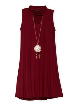 Girls 7-16 Mock Neck Shift Dress with Necklace - 1615066590004