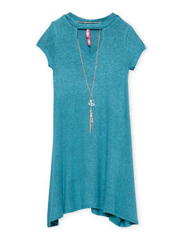 Girls 7-16 Keyhole Neck Dress with Necklace - 1615066590006