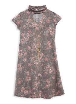 Girls 7-16 Rose Print Dress with Necklace - 1615066590007