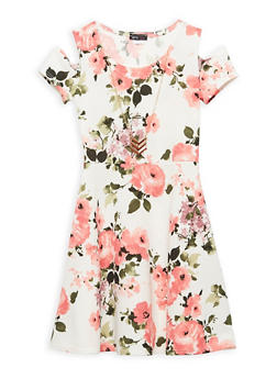 Girls 7-16 Floral Skater Dress with Necklace - 1615066590008