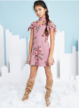 Girls 7-16 Floral Print Dress with Charm - 1615066590013
