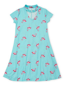 Girls 7-16 Flamingo Print Skater Dress - 1615066590016