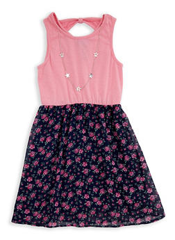 Girls 7-16 Floral Tank Dress with Necklace - 1615073990002