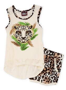 Girls 4-6x  2 Piece Printed Tiger Tank Top with Shorts Set - 1616021280004
