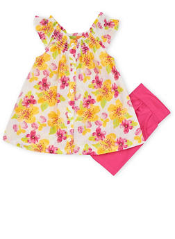 Girls 4-6x Floral Off the Shoulder Shirt with Shorts - 1616023260001