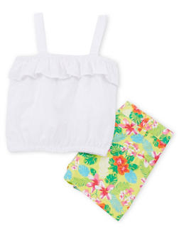 Girls 4-6x Sleeveless Eyelet Top and Floral Shorts Set - 1616023260004