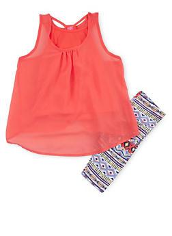 Girls 4-6x Chiffon Tank Top with Printed Bike Shorts - 1616048370001