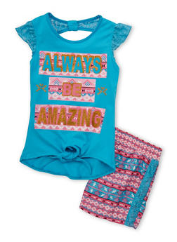 Girls 4-6x Amazing Graphic Lace Top with Aztec Printed Shorts - 1616054730003