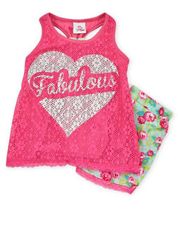 Girls 4-6x Fabulous Graphic Tank Top with Lace Trimmed Floral Shorts - 1616054730004