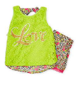 Girls 4-6x Love Lace Printed Top and Shorts - 1616054730005