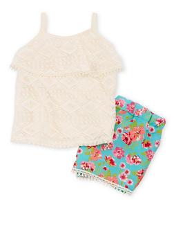 Girls 4-6x 2 Piece Lace Floral Short Set with Crochet Trim - 1616054730006