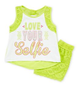 Girls 4-6x Love Your Selfie Graphic Tank Top with Lace Shorts - 1616054730007