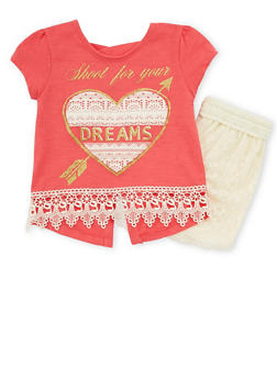 Girls 4-6x Dreams Graphic Top with Lace Shorts - 1616054730008