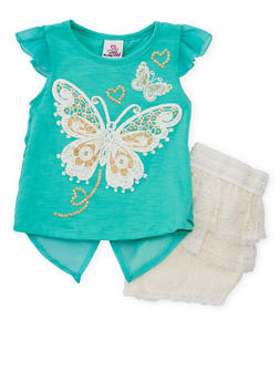 Girls 4-6x Butterfly Top with Layered Lace Shorts Set - 1616054730009