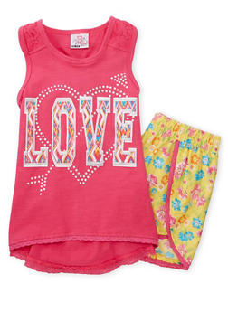Girls 4-6x Love Graphic Tank Top with Floral Shorts - 1616054730010