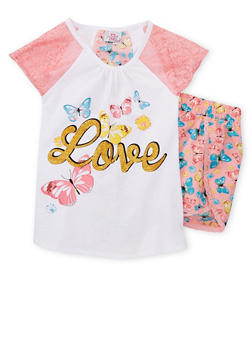 Girls 4-6x Lace Sleeve Graphic Top with Floral Shorts - 1616054730011