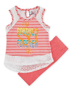 Girls 4-6x Sparkle Forever Graphic Top with Shorts - 1616054730012
