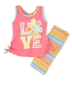 Girls 4-6x Love Graphic Tank Top with Chevron Shorts - 1616054730013