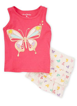 Girls 4-6x Butterfly Graphic Tank Top and Skirt Set - 1616060990001