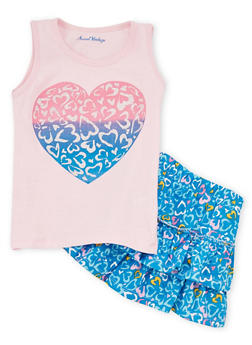 Girls 4-6X Heart Graphic Top and Tiered Skort Set - 1616060990003