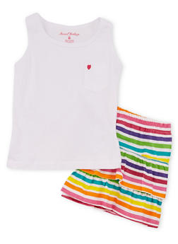 Girls 4-6x Tank Top with Striped Peasant Skirt Set - 1616060990005